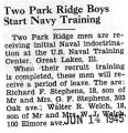 Two Park Ridge Boys Start Navy Training