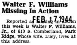 Walter F. Williams Missing in Action