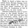A letter was received from Private George Lindstrom who is stationed in the South Pacific