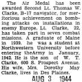 Air Medal award given to Clarke, a B-17 navigator
