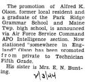 Alfred Olson was promoted to Technician Fifth Grade while stationed in England