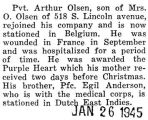 Arthur Olsen rejoined his company in Belgium after being injured in France