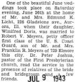 Article about Robert Meyers marriage to Winifred Licht of Aurora, Illinois