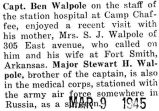 Article about Walpole's wife, who was a librarian, stationed in North Africa (Photograph)