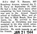 Assigned to a ship at Christmastime and sailed off to an undisclosed destination