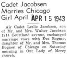 Cadet Jacobsen Marries Chicago Girl April 3