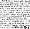 Beesley took training at the First Women's Army Corps Training Center at Fort Des Moines, Iowa