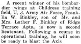 Binkley was made a second lieutenant at Childress training field