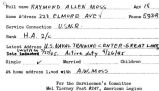 Biographical information about Raymond Allen Moss sent to A.C. Tyre by postcard