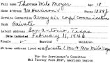 Biographical information about Thomas Milo Moyer sent to A.C. Tyre by postcard