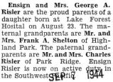 Birth announcement of a daughter born to Ensign Risler and his wife