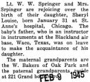 Birth announcement of a daughter, Sheryl Louise, to Walter and Mrs. Springer