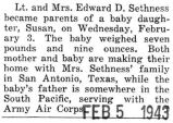 Birth announcement of a daughter, Susan, to Lieutenant and Mrs. Sethness