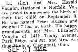 Birth announcement of a son, Peter Hudson, born to Lieutenant Vaughn and his wife