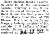 Birth announcement of Harry Maclean Hood III born at Ravenswood hospital on June 20