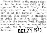 Birth announcement of Pamela Ruth born at Swedish Covenant hospital