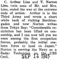 C.A. Lins was in Germany when the war ended, whereas his brother was in Tokyo Bay