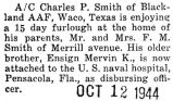 Charles Smith spent a fifteen day furlough at home from Blackland AAF in Waco, Texas