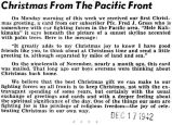 Christmas From the Pacific Front