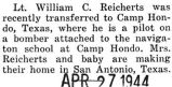 Clarence Reicherts was transferred to Camp Hondo, Texas