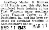 Completed basic training at the First Woman's Army Auxiliary Corps