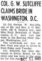 Col. G. W. Sutcliffe Claims Bride in Washington, D.C.
