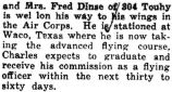 Dinse stationed at Waco, Texas where he took an advanced flying course (Top line cut-off)