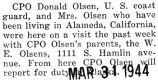 Donald Olsen and his wife came from Alameda, California to visit his parents