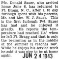 Donald Sauer was home for a ten day furlough from Fort Bragg, North Carolina