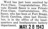 Donald Sauer was promoted to Private First Class while he was stationed at Fort Bragg