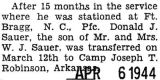 Donald Sauer was transferred to Camp Robinson in Arkansas from Fort Bragg in North Carolina