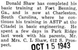 Donald Shaw was stationed at Charleston, South Carolina for ASTP training