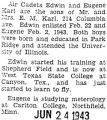 Edward Karl training at West Texas State College in Canyon, Texas in flying