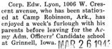 Edward Lyon home on furlough before being transferred to Grinnell, Iowa