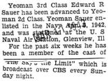 Edward Sauer was advanced to Yeoman second class while stationed in Glenview, Illinois