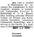 Engagement announcement of Annette Jernber [sic] to George Stembridge (Document Incomplete)
