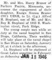 Engagement announcement of Ensign Norma Bruner of Parkers Prairie, Minnesota to Lt. Stephani