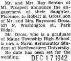 Engagement announcement of Miss Florence Fenton to Robert E. Gross