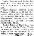 Eugene Karl was home on furlough before reporting to Jefferson Barracks for reassignment