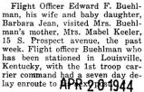Flight officer Buehlman, wife, and daughter visited mother-in-law in Park Ridge