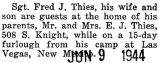 Frederick Thies and his wife spent a fifteen day furlough at his parents house