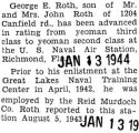 George Roth was promoted to Yeoman, second class at Richmond, Florida