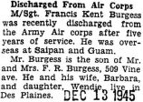 Discharged from Air Corps