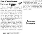 """Don Christiansen Now an Ensign"" (Document Incomplete)"