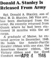 Donald A. Stanley Is Released From Army