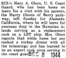 Harry Olson was home on leave before leaving for Alameda, California