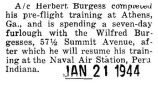 Herbert Burgess completed his pre-flight training at Athens, Georgia