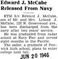 Edward J. McCabe Released From Navy