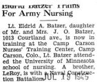 """Eldrid Batzer Trains for Army Nursing"" -Title cut-off-"