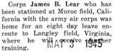 James Lear was home for a week enroute to Langley Field, Virginia